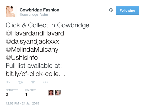 Cowbridge fashion tweet